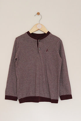 M&S Autograph burgundy striped sweater (age 6-7)