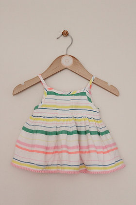 F&F strappy striped sundress with cotton lining (age 0-3 months)