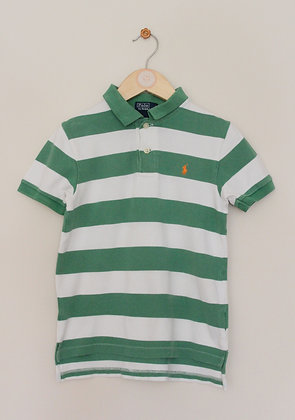 Polo Ralph Lauren green and white striped polo shirt (age 6)