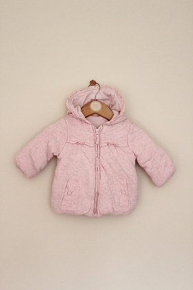 George pink dotty padded jersey hooded coat (age 3-6 months)