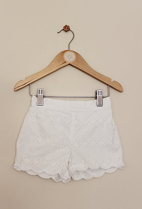Next white flower cut out pull on shorts (age 12-18 months)