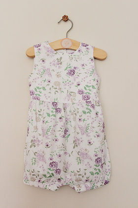 TU floral romper suit with cut away back (age 9-12 months)