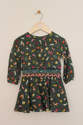 Next woodland dress with cotton lined skirt (age 12-18 months)