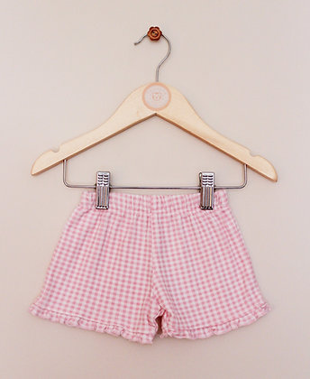 TU pink gingham pull on jersey shorts (age 0-3 months)