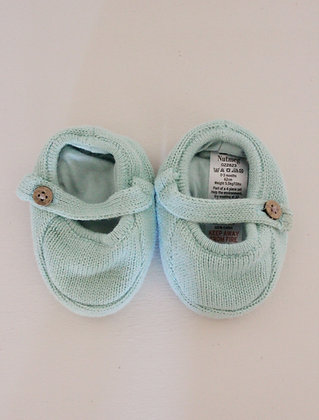 Nutmeg turquoise knit pram shoes (size 0-3 months)