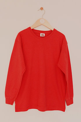 Fruit of the Loom long sleeved red t-shirt (age 7-8)