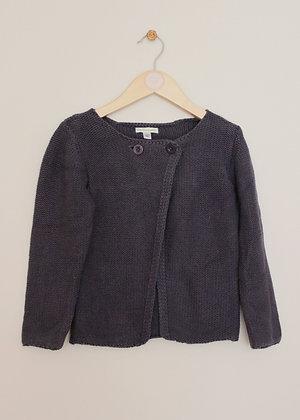 Vertbaudet blue chunky knit cardigan (heart design on back) (age 5)