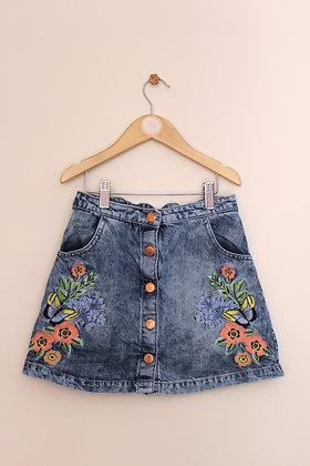 F&F denim skirt with floral embroidered decoration (age 10-11)