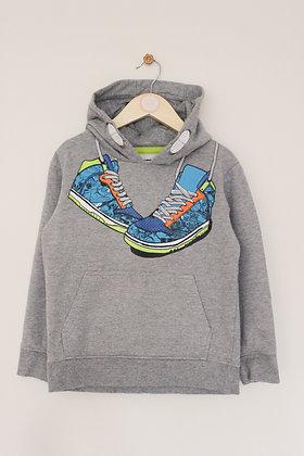 Bluezoo grey hooded baseball boot sweatshirt  (age 6-7)