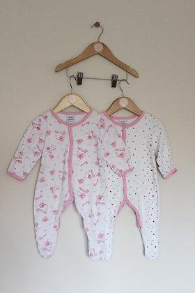 2 x Bebe Bonito pretty sleepsuits (age 6-9 months)