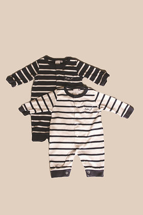 2 x navy and white Jasper Conran long sleeved romper suits (age 0-3 months)
