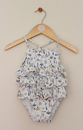 Matalan ruffled floral swimsuit with hat (age 9-12 months)
