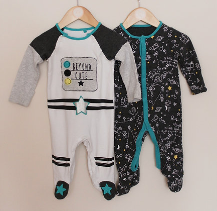 2 x TU space themed sleepsuits (age 3-6 months)