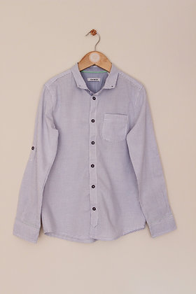 Okaidi white and blue checked shirt (age 10)