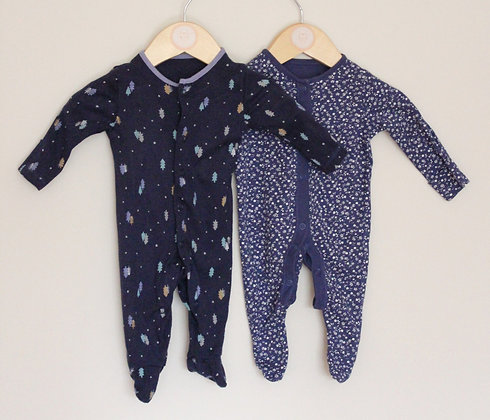 2 x navy patterned sleepsuits (age 0-1 month)