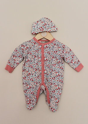 Rock a Bye Baby ditsy floral sleepsuit and hat (Newborn)