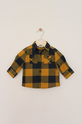 Primark brushed mustard/navy checked shirt (age 0-3 months)