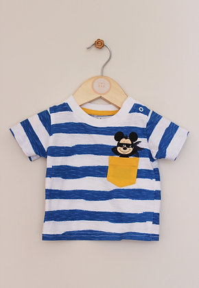 Primark Disney blue and white Mickey t-shirt (age 0-3 months)