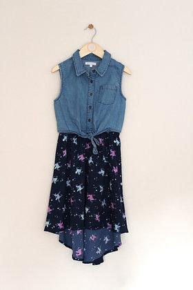 Bluezoo dipped hem unicorn dress with denim mock top (age 8)
