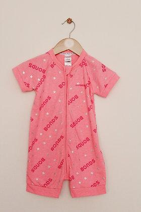 Neon pink Bonds short sleeved Wondersuit (age 12-18 months)