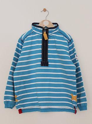 Lazy Jacks teal striped 1/4 zip sweatshirt (age 7-8)