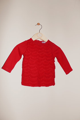 F&F red layered long sleeved top (3-6 months)
