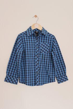 H&M blue checked cotton shirt (age 5-6)
