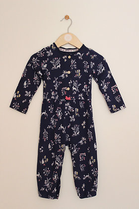 Mantaray navy floral mock layer romper (age 12-18 months)