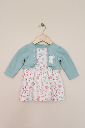 M&Co mock layer dress with baby grow (age 3-6 months)