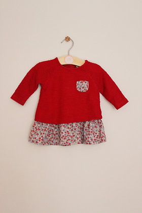 Next red and floral mock layer dress (age 0-3 months)