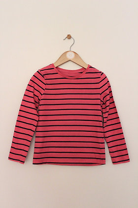 George long sleeved coral / navy striped t-shirt (age 6-7)