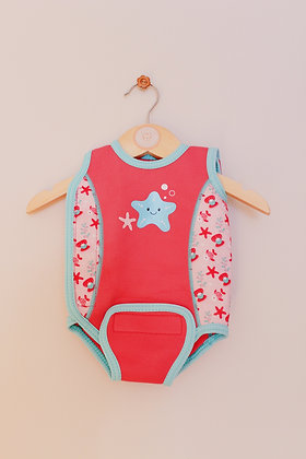 Coral baby wetsuit with velcro fastenings (age 3-6 months)