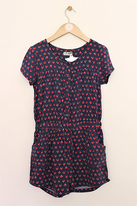 Next short sleeved strawberry print playsuit (age 9)