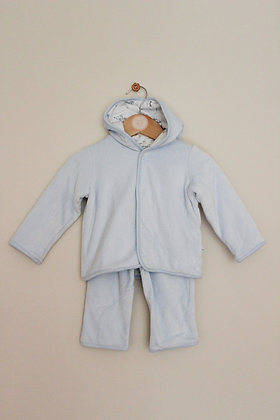 M&S pale blue velour trousers and hoodie (age 3-6 months)