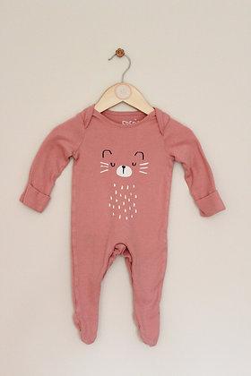 F&F dusky pink cat sleepsuit (age 0-3 months)