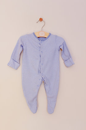 F&F blue and white striped sleepsuit (age 0-1 month)