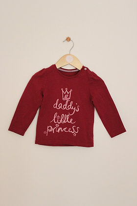 Mothercare maroon slogan top (age 12-18 months)