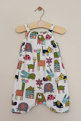 Next strappy brightly animal patterned romper (age 3-6 months)