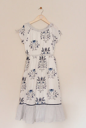 Next short sleeved white and blue maxi dress (age 8)