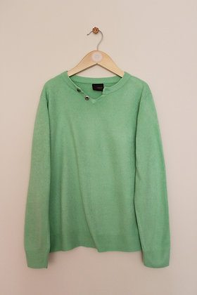 Next green jumper with decorative V-neck (age 9)