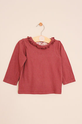 Nutmeg long sleeved t-shirt with frilled collar (age 6-9 months)