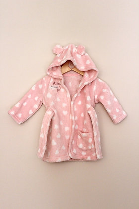 George pink and white spotty dressing gown (age 3-6 months)