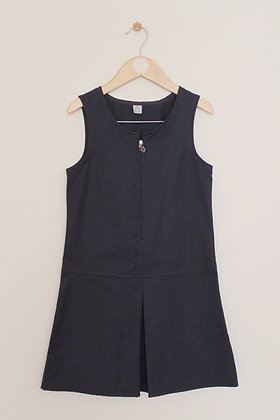 TU navy school pinafore with flower zip pull (age 7)