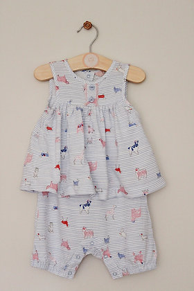 Joules doggy print layered romper (age 9-12 months)