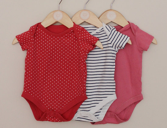 3 x F&F short sleeved bodysuits (age 3-6 months)