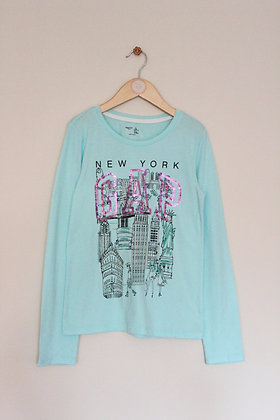 Gap turquoise long sleeved 'New York' top (age 10-11)