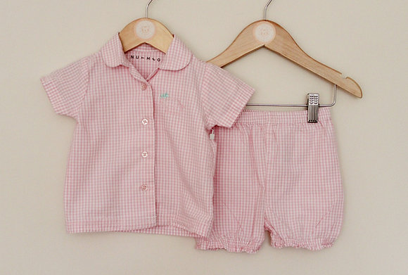 Nutmeg pink and white check woven shorts set (age 6-9 months)