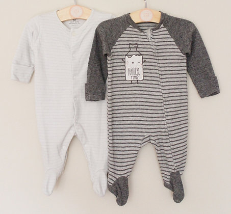 2 x grey sleepsuits (age 0-1 month)