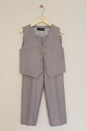 M&S Autograph grey striped tousers and waistcoat (age 4-5)