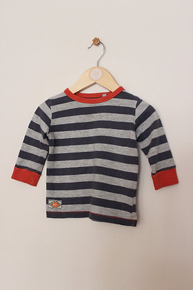 Next grey and navy striped top (age 6-9 months)